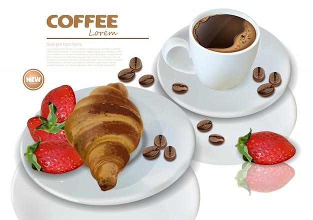 Kawa śniadaniowa i rogalik