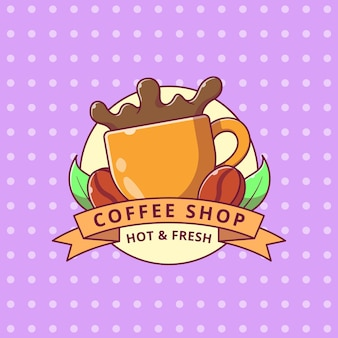 Kawa splash kreskówka logo odznaka płaski.