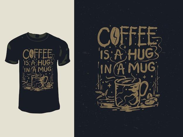 Kawa to uścisk w projekcie koszulki z kubkiem