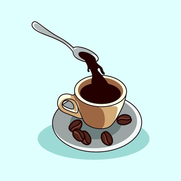 Kawa w filiżance z łyżeczką w nowoczesnym stylu