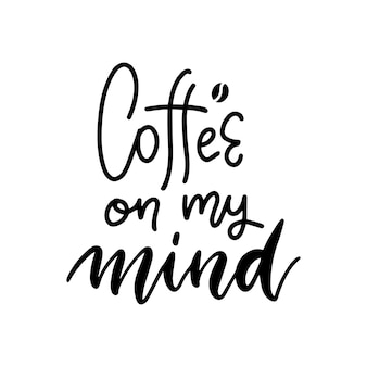 Kawa w mojej głowie czarno-biały odręczny napis napis projekt menu kawiarni