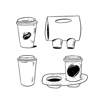 Kawa w papierowym kubku i kawa na wynos na stojaku. ręcznie rysowane szkic