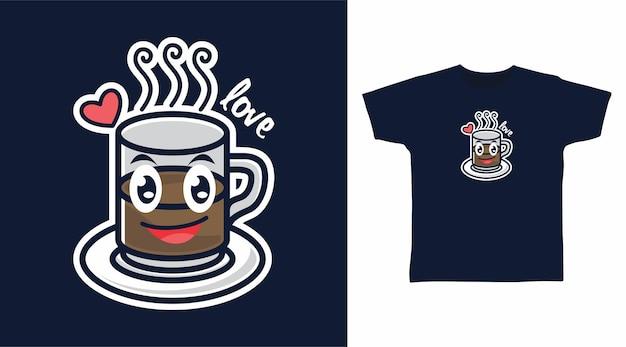 Kawa w uroczym projekcie koszulki z kubkiem