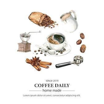 Kawa worek fasoli arabica z filiżanką kawy americano, cynamonowy ekspres do kawy akwarela ilustracji