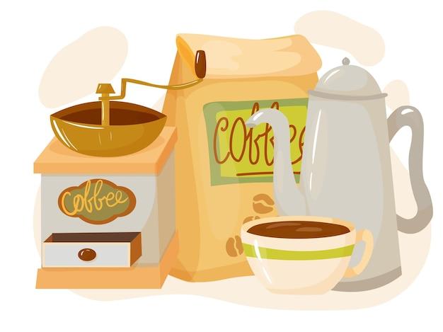 Kawa. zestaw przedmiotów do przygotowania nipitkova w kawiarni. element wystroju. ilustracja wektorowa na białym tle.