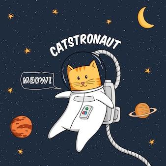 Kawaii astronauta kot latający w przestrzeni kosmicznej