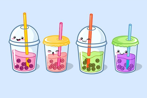 Kawaii bąbelkowa herbata ilustracja
