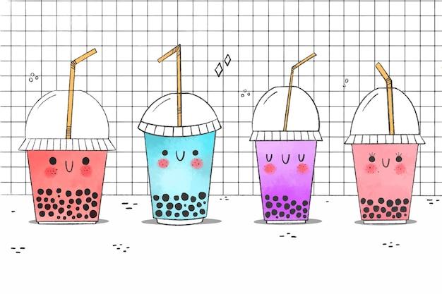 Kawaii bąbelkowa ilustracja kolekcji herbaty