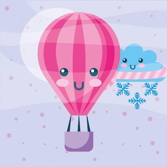 Kawaii balon na gorące powietrze zima chmura z szalikiem śnieżynka kreskówka