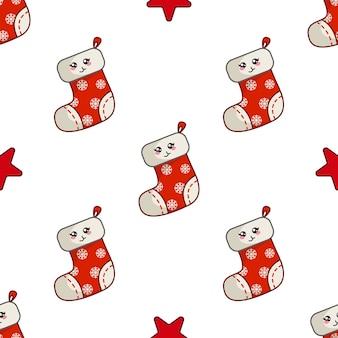 Kawaii boże narodzenie bez szwu wzór z czerwoną zabawną skarpetą lub dekoltem, gwiazda, niekończące się tekstury na tekstylia, papier pakowy
