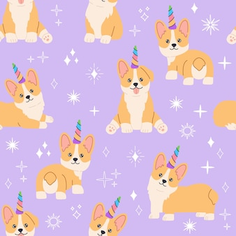 Kawaii corgi jednorożec z kolorowym tęczowym rogiem, mały magiczny piesek z uroczą uśmiechniętą buzią. piesek wzór na fioletowym tle. ręcznie rysowane modna nowoczesna ilustracja w stylu płaskiej kreskówki