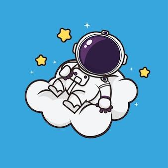 Kawaii cute astronaut icon maskotka ilustracja