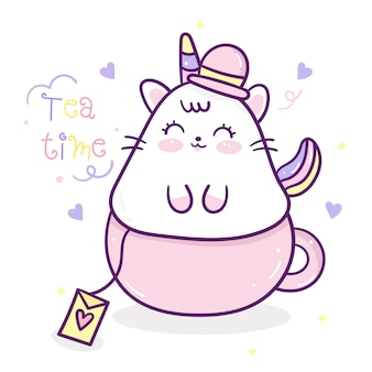 Kawaii cute cartoon jednorożca kota