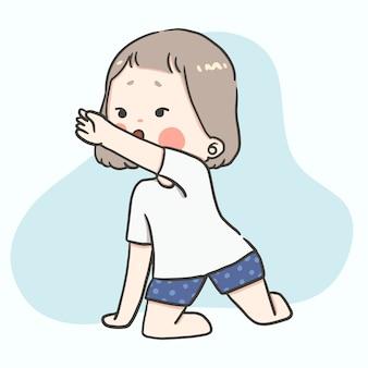 Kawaii cute girl z różnych działań i uczuć