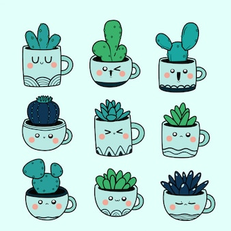 Kawaii doodle ilustracja kaktus