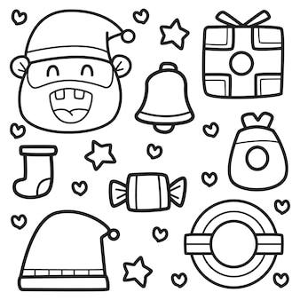 Kawaii doodle ilustracja kreskówka boże narodzenie projekt