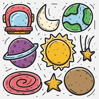 Kawaii doodle ilustracja kreskówka planety