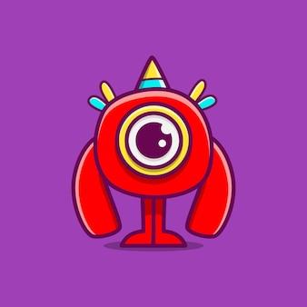 Kawaii doodle ilustracja kreskówka potwór