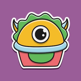 Kawaii doodle ilustracja postaci potwora