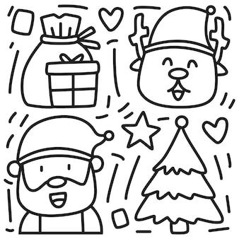 Kawaii doodle kreskówka boże narodzenie projekt
