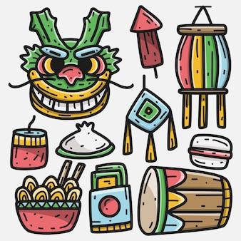Kawaii doodle kreskówka chiński festiwal