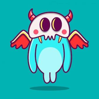 Kawaii doodle kreskówka potwór ilustracja