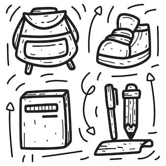 Kawaii doodle kreskówka powrót do szkoły