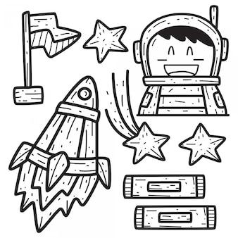 Kawaii doodle kreskówka szablon projektu przestrzeni