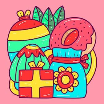 Kawaii doodle kreskówka szablon