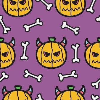 Kawaii doodle kreskówka wzór halloween