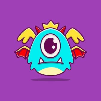 Kawaii doodle potwór postać z kreskówki