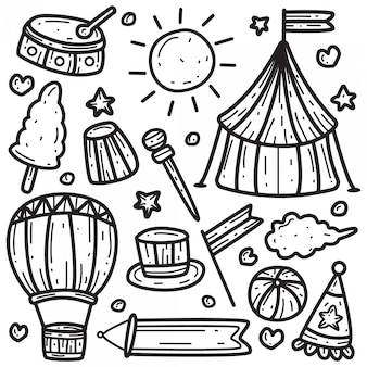 Kawaii doodle szablon cyrku