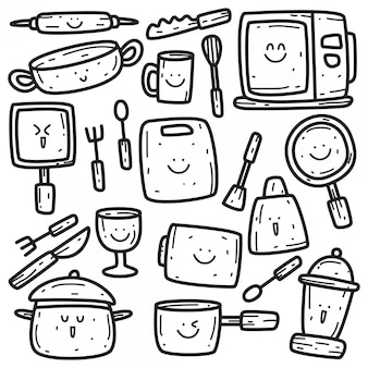 Kawaii doodle szablon naczynia kuchenne