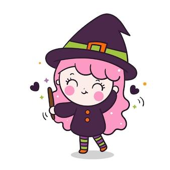 Kawaii dziewczyna czarownica trzyma magiczną różdżkę