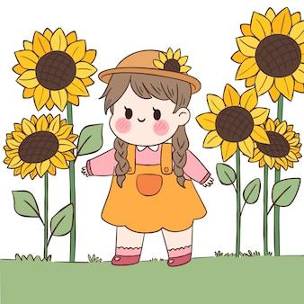 Kawaii dziewczyna i słoneczniki na zewnątrz