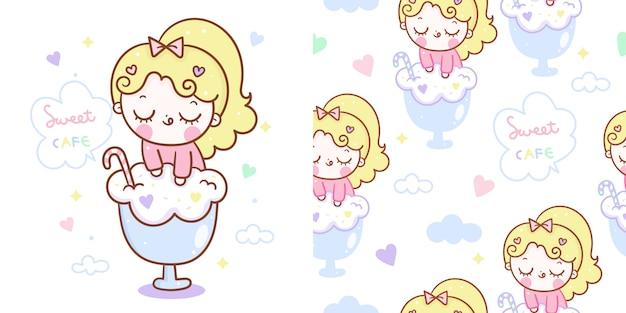 Kawaii dziewczyna na lody kreskówka