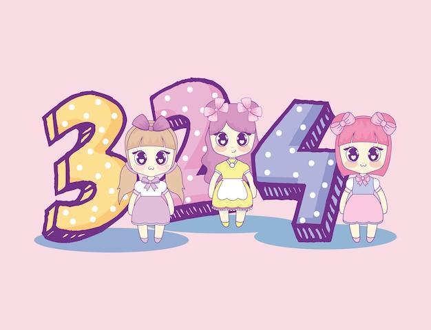 Kawaii dziewczyny z numer urodzinową kartą