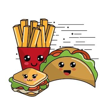 Kawaii fast food ikona adorable wyrażenie