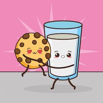Kawaii fasta food śliczna ciastko i mleko ilustracja