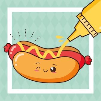 Kawaii fasta food śliczny hot dog z musztardy ilustracją