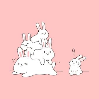 Kawaii funny bunny rodziny leżą nad sobą, proste i czyste ilustracji wektorowych