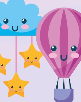 Kawaii gorącym powietrzem balon chmura i gwiazdy wiszące