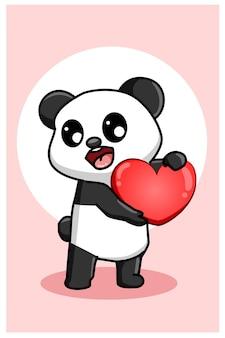 Kawaii i zabawna panda przynoszą ilustrację z wielkimi walentynkami w kształcie serca