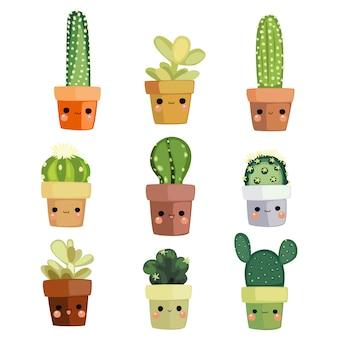 Kawaii ilustracja kaktus