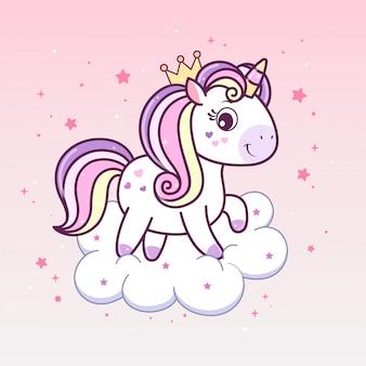 Kawaii jednorożec księżniczka w koronie na chmurze.
