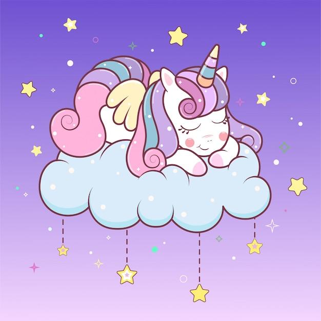 Kawaii jednorożec śpi na chmurze z gwiazdami.