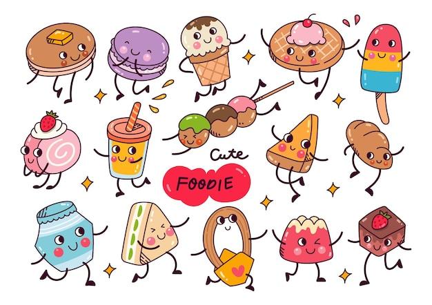 Kawaii jedzenie doodle kolekcja na białym tle