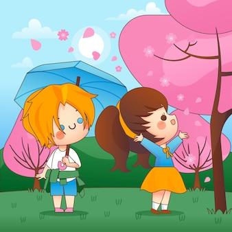 Kawaii kids i sakura stoją obok różowych drzew