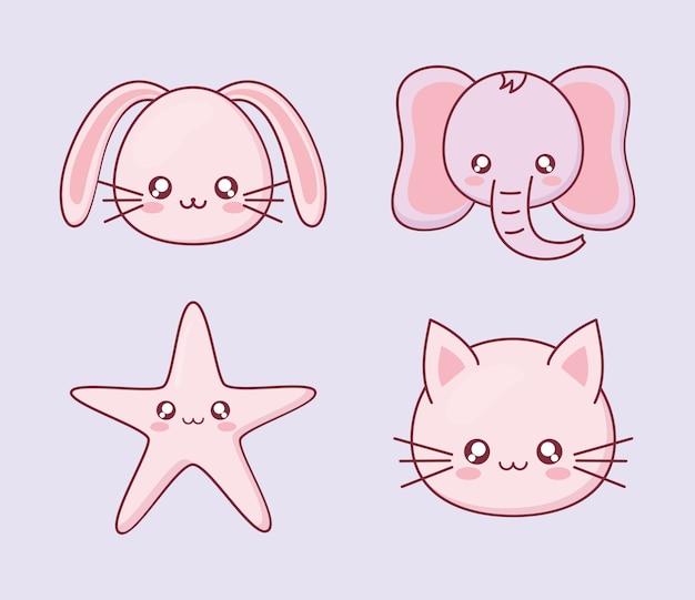 Kawaii kolekcja ikon kreskówek zwierząt, zabawna ekspresja i motyw emotikonów