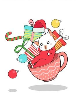 Kawaii kot i prezenty w filiżance w boże narodzenie
